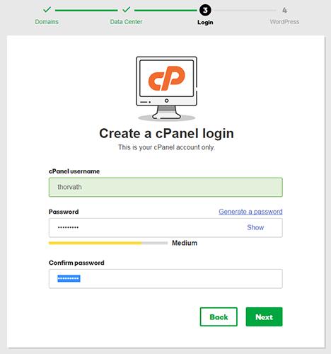create cpanel login