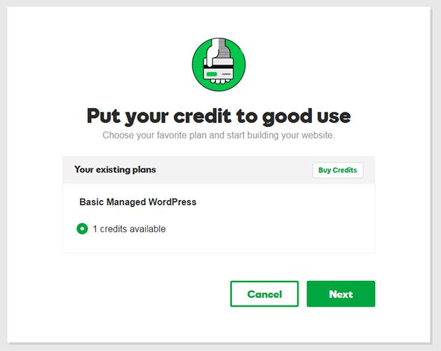godaddy hosting credit