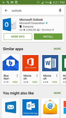 install outlook android