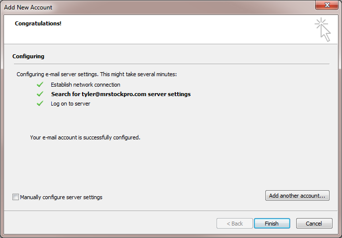 outlook 2010 new account success
