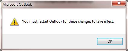 outlook must restart add account
