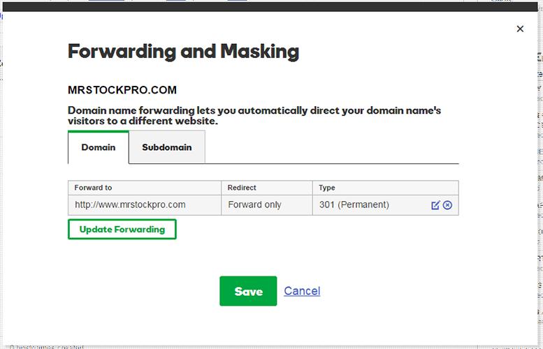 save forwarding godaddy domain