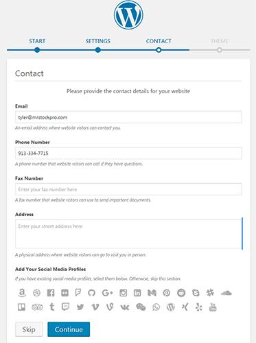 wordpress contact settings